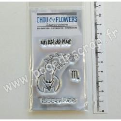 LUN129   CHOU & FLOWERS COLLECTION DANS LA LUNE TAMPONS CLEAR DOUDOU SCORPION