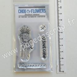 LUN130   CHOU & FLOWERS COLLECTION DANS LA LUNE TAMPONS CLEAR DOUDOU SAGITTAIRE