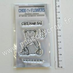 LUN132   CHOU & FLOWERS COLLECTION DANS LA LUNE TAMPONS CLEAR DOUDOU VERSEAU