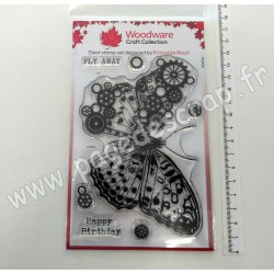 FRS831   CREATIVE EXPRESSIONS WOODWARE TAMPONS CLEAR COG BUTTERFLY