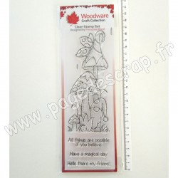 FRS407   CREATIVE EXPRESSIONS TAMPON CLEAR WOODWARE CHAMPIGNONS MAGIQUES