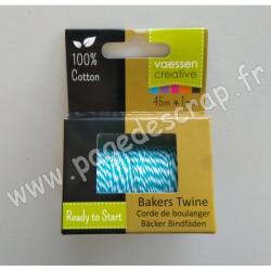 3908-045   VAESSEN FIL BAKERS TWINE 45m TURQUOISE-WHITE