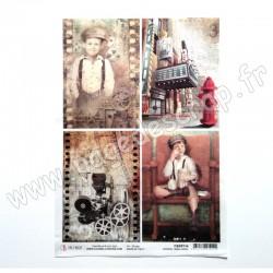 CBRP114   CIAO BELLA PAPIER DE RIZ A4 MODERN TIMES CARDS