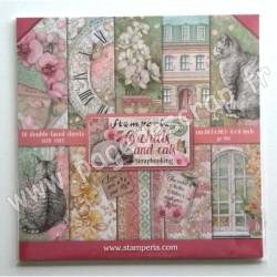 SBBS26   STAMPERIA ORCHIDS AND CATS 10 feuilles R/V 20.3 cm x 20.3 cm 190 gr