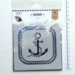 FDS221001   FLORILEGES DESIGN POCHOIR VUE SUR MER 12 cm x 12 cm ANCRE MARINE