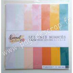 P0621-BDD8   COMPTOIR DU SCRAP BOUQUET DE DOUCEUR LES UNIS NUANCÉS 7 papiers 30.5cm x 30.5cm