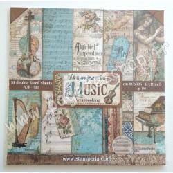 STAMPERIA MUSIC 10 feuilles R/V 30.5 cm x 30.5 cm 190 gr