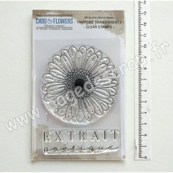 JOU122     CHOU & FLOWERS COLLECTION JOURNAL CHROMATIQUE TAMPONS CLEAR GERBERA
