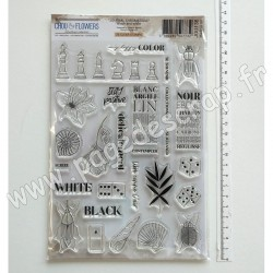 JOU138     CHOU & FLOWERS COLLECTION JOURNAL CHROMATIQUE TAMPONS CLEAR BLACK AND WHITE