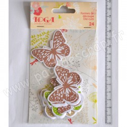 TOGA 24 FORMES DECOUPEES PAPILLONS VERT / TAUPE / BEIGE