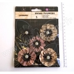 PRIMA CARTOGRAPHER STUNNING PAPER FLOWERS - VOYAGER 8 pièces
