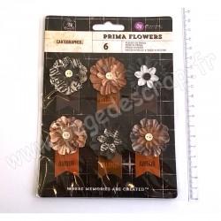 PRIMA CARTOGRAPHER STUNNING PAPER FLOWERS - EXPLORER 6 pièces