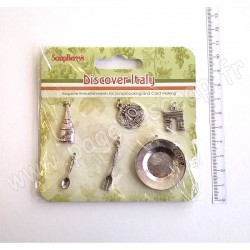 SCRAPBERRY'S METAL CHARMS SET DISCOVER ITALY